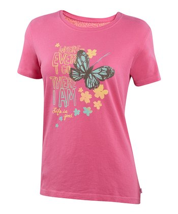 Hot Pink 'Wherever I Go' Creamy Tee - Women