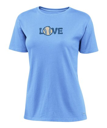 Spring Blue 'Love' Tennis Crusher Tee - Women
