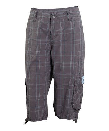 Way Gray Plaid Journey Cargo Shorts - Women