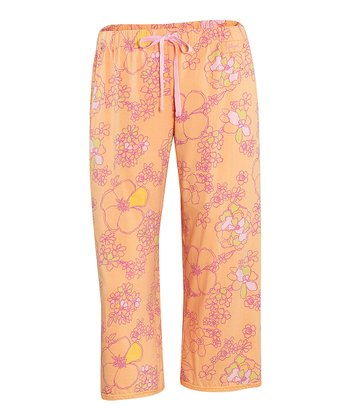 Tangerine Orange Lace-Trim Cropped Pajama Pants - Women