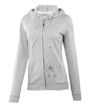 Heather Gray Floral Zip-Up Hoodie - Women