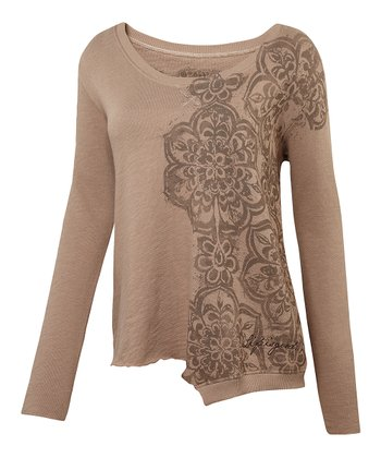 Mocha Brown Swingline Organic Asymmetrical Top - Women