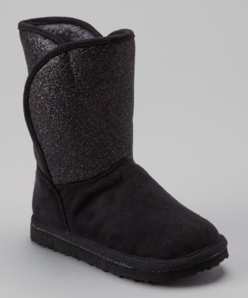 Black Glitter Clutch Boot