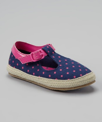 Denim & Fuchsia Les T-Strap Shoe