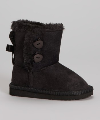 Black Bow Faux Fur Snuggles Boot - Kids