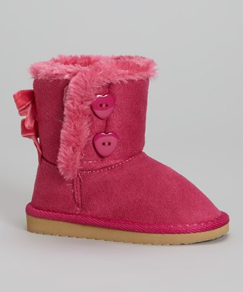 Pink Bow Faux Fur Snuggles Boot - Kids