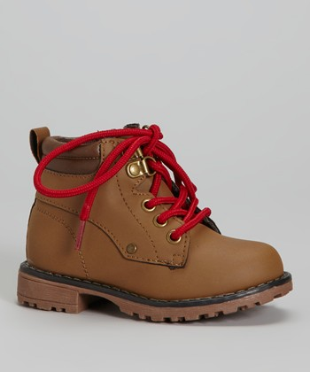 Tan & Red Lace-Up Boot - Kids