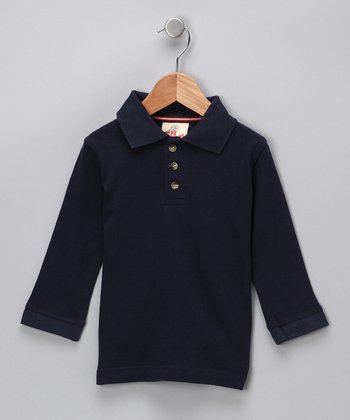 Navy Pique Polo - Toddler & Boys