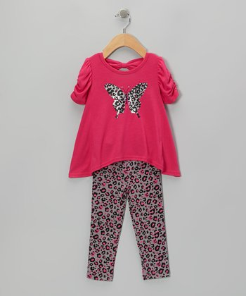 Pink Butterfly Top & Gray Leopard Leggings - Girls