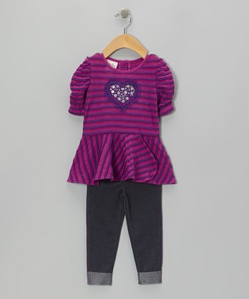 Purple Stripe Heart Tunic & Gray Jeggings - Girls