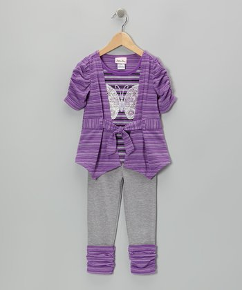 Purple Stripe Butterfly Top & Gray Leggings - Infant, Toddler & Girls