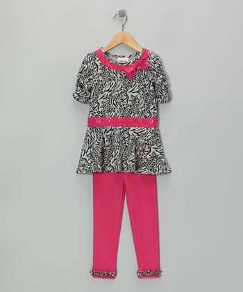 Gray Animal Print Bow Tunic & Pink Leggings - Girls