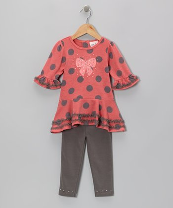 Coral Polka Dot Ruffle Tunic & Gray Leggings - Girls