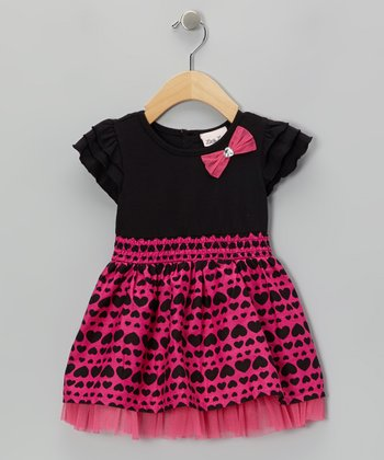 Black & Pink Heart Angel-Sleeve Dress - Infant, Toddler & Girls