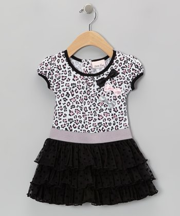White & Black Leopard Ruffle Dress - Girls