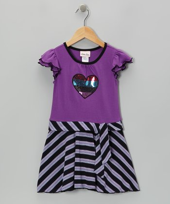 Purple Sequin Heart Angel-Sleeve Dress - Infant, Toddler & Girls