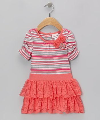 Orange & Pink Stripe Lace Ruffle Dress - Infant, Toddler & Girls