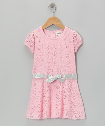 Light Pink Lace Sequin Belt Dress - Infant & Toddler