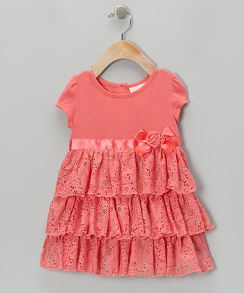 Coral Lace Ruffle Dress - Infant, Toddler & Girls