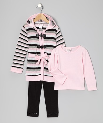 Pink & Black Stripe Toggle Cardigan Set - Infant & Toddler