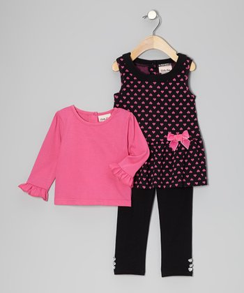 Black & Pink Heart Jumper Set - Toddler