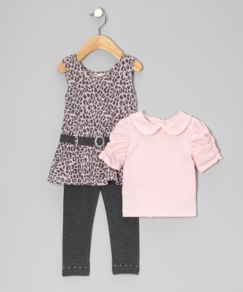 Gray & Light Pink Cheetah Jumper Set - Girls