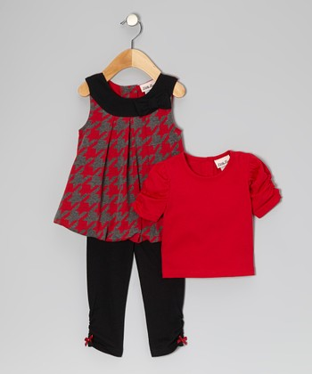 Red Houndstooth Bubble Jumper Set - Infant, Toddler & Girls