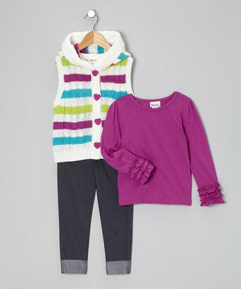 White & Purple Stripe Sweater Vest Set - Infant, Toddler & Girls