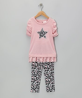 Light Pink Leopard Heart Sweater & Gray Leggings - Girls