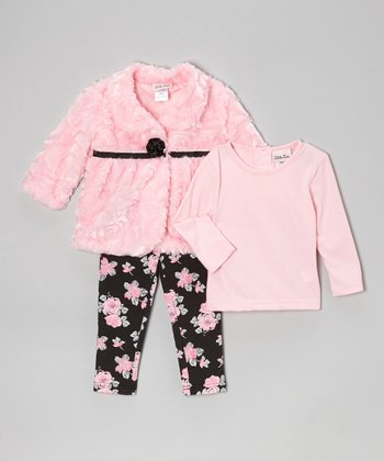 Pink Faux Fur Jacket Set - Infant & Toddler
