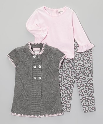 Pink & Gray Cardigan Set - Girls