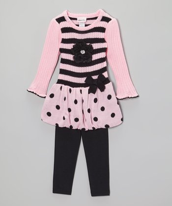 Pink & Black Sweater Dress & Leggings - Infant, Toddler & Girls