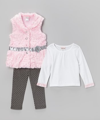 Pink Rose Sequin Faux Fur Vest Set - Toddler