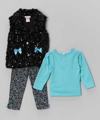 Black Bow Sequin Faux Fur Vest Set - Infant & Toddler