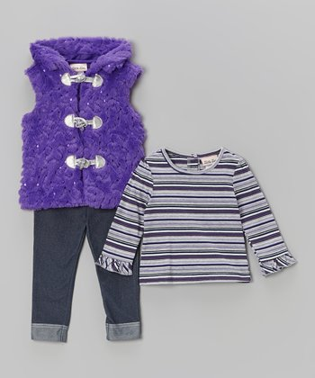Purple Sequin Faux Fur Vest Set - Infant & Toddler