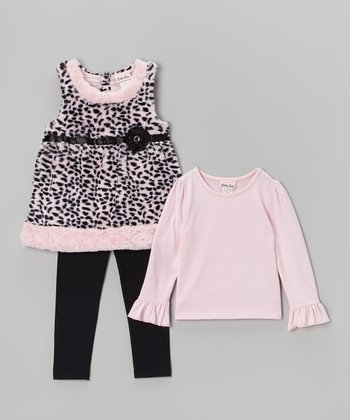 Pink & Black Cheetah Faux Fur Jumper Set - Infant & Toddler