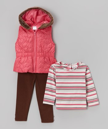 Coral Heart Puffer Vest Set - Infant, Toddler & Girls