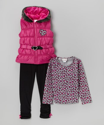 Pink Puffer Vest Set - Toddler & Girls