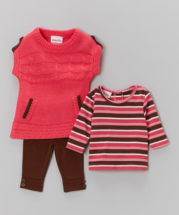 Coral Cable Sweater Set - Infant, Toddler & Girls
