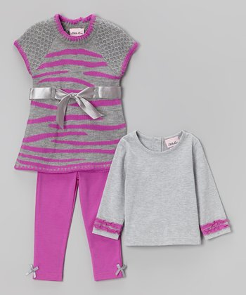 Purple Stripe Sweater Tunic Set - Girls