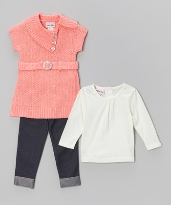 Peach Sweater Tunic Set - Infant