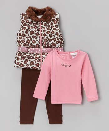 Brown & Pink Leopard Puffer Vest Set - Infant, Toddler & Girls