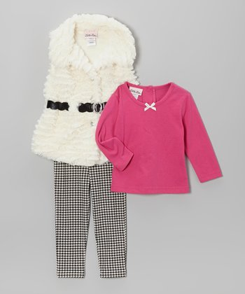 White & Black Faux Fur Vest Set - Infant & Toddler
