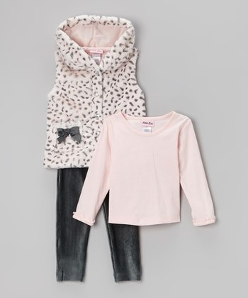 Pink Dalmatian Faux Fur Bow Vest Set - Toddler