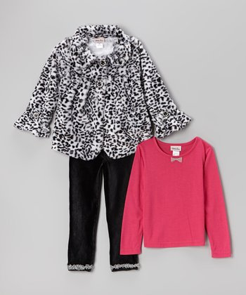 Black & White Cheetah Faux Fur Coat Set - Infant, Toddler & Girls