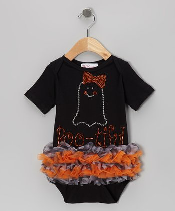Black 'Boo-tiful' Rhinestone Ruffle Bodysuit - Infant