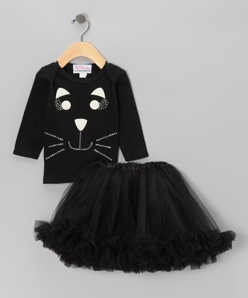 Black Cat Long Sleeve Tee & Tutu - Infant, Toddler & Girls