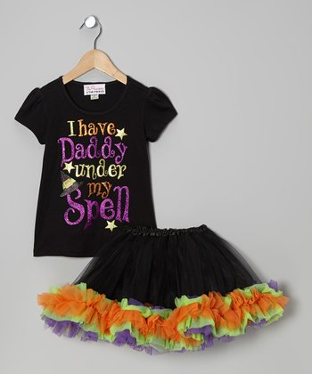 Black Sparkle 'Daddy' Tee & Tutu - Infant, Toddler & Girls