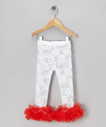 White Rose Lace Leggings - Infant, Toddler & Girls