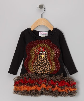 Black Leopard Fuzzy Turkey Ruffle Dress - Infant, Toddler & Girls